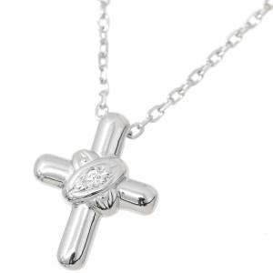 Mikimoto 18K White Gold with 0.01ctw. Diamond Cross Pendant Necklace