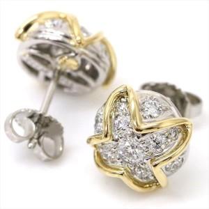 Tiffany & Co. PT950 Platinum & 18K Yellow with Diamond Earrings