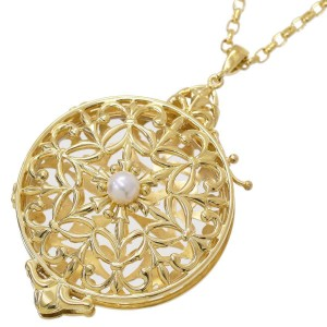Mikimoto 18K Yellow Gold with Akoya Pearl Loupe Pendant Necklace