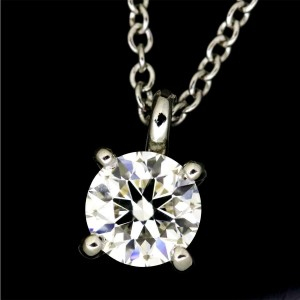 Tiffany & Co. 950 Platinum with 0.37ct Solitaire Diamond Necklace