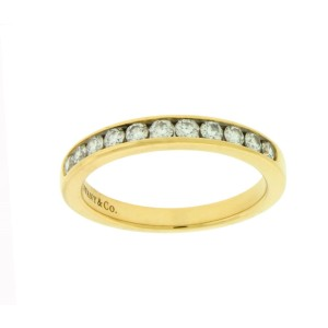 Tiffany & Co. 18K Yellow Gold with 0.33ctw. Diamond Channel Band Ring Size 6.75