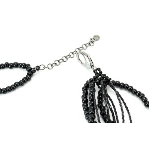 Chanel Silver Tone Hardware and Black Beads Necklace