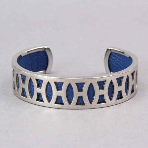 Hermes H Logo Silver Tone Hardware and Leather Bangle Bracelet