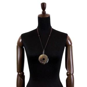 Hermes Buffalo Horn & Silver Tone Hardware Necklace