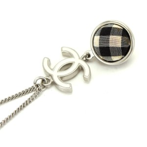 Chanel Silver Tone Hardware CC Logo Ball Pendant Necklace