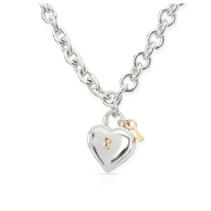 Tiffany & Co. 925 Sterling Silver and 18K Yellow Gold Heart Key Necklace