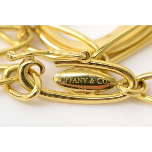 Tiffany & Co. 750 Yellow Gold Open Heart Chain Bangle Bracelet