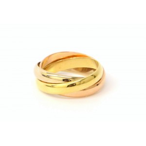 Cartier Trinity Band Ring 750 Yellow, White and Rose Gold Size 6.5