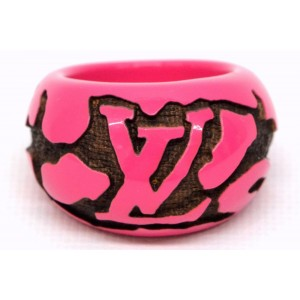 Louis Vuitton Wood and Plastic Leo Monogram Ring Size 6.5