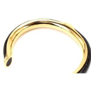 Hermes Leather Gold Tone Metal Bangle