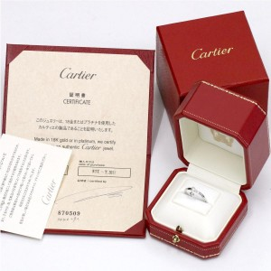 Cartier Diamant Leger Ring 18K White Gold with Diamond Size 5.75