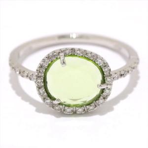 Pomellato Colpo di Fulmine Peridot 18K White Gold Diamond Ring Size 5