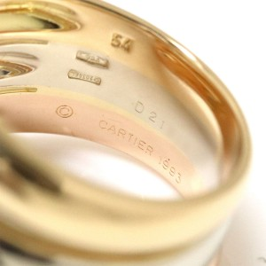 Cartier Three Gold Ring 18K Yellow, White, Rose Gold Diamond Size 6.75