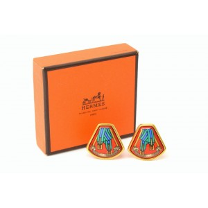Hermes Email Gold Tone Hardware with Enamel Clip-On Earrings