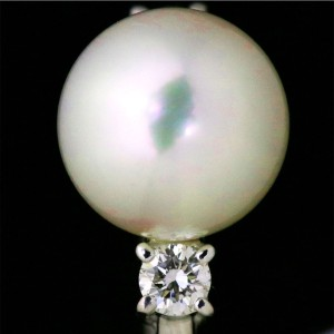 Mikimoto Platinum Akoya Cultured Pearl Diamond Ring Size 6