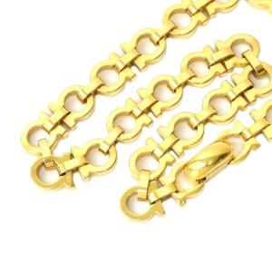Salvatore Ferragamo Vintage Gold Tone Hardware Gancini Chain Necklace