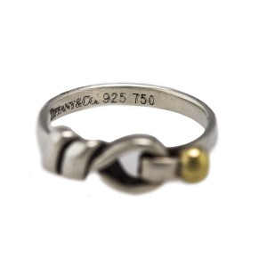 Tiffany & Co. 925 Sterling Silver 18K 750 Yellow Gold Hook & Eye Knot Ring Size 6.25