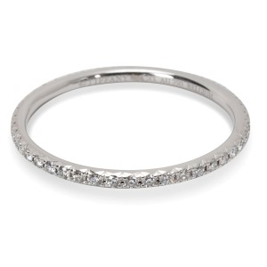 Tiffany & Co. Metro 18K White Gold Diamond Ring Size 4.5