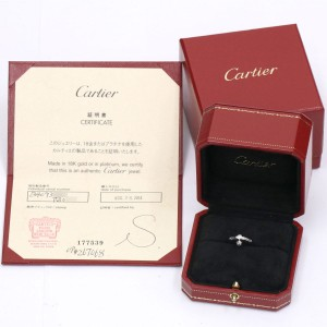 Cartier Diamants Legers Ring 18K White Gold Diamond Size 3.75