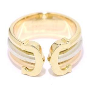 Cartier 2C Ring 18K Yellow White & Rose Gold Size 6