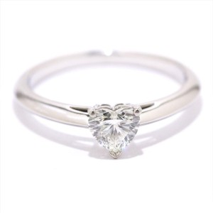 Tiffany & Co. 950 Platinum 0.44ct Heart Diamond Ring Size 6