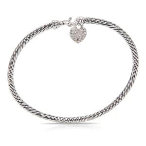 David Yurman Cable Sterling Silver Diamond Bracelet