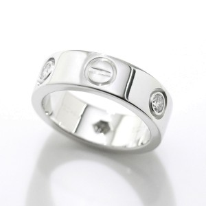 Cartier Love Ring 18K White Gold 0.22ctw. Diamond Size 3.75