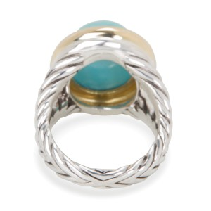 David Yurman Oval 18K Yellow Gold Sterling Silver Turquoise Ring Size 7