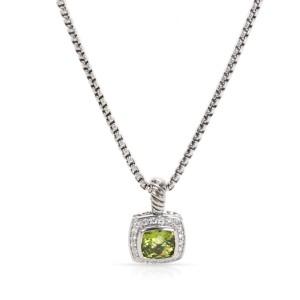 David Yurman Sterling Silver with Prasiolite & 0.20ctw Diamond Pendant Necklace