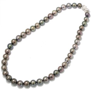 Mikimoto 18k White Gold Cultured Pearl and Diamond Necklace