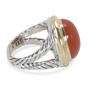 David Yurman Oval Peach Quartz Sterling Silver & 18K Yellow Gold Ring Size 7
