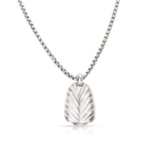 David Yurman Chevron Sterling Silver Tag Pendant Necklace
