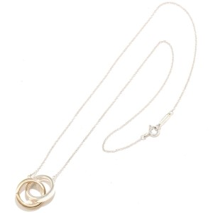 Tiffany & Co. Interlocking Circle Sterling Silver and 18k Rose Gold Necklace