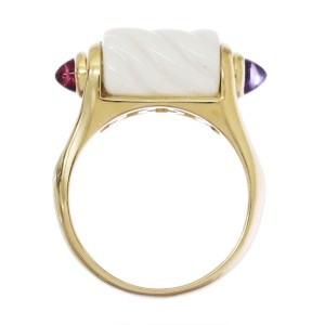 Bulgari Tronchetto 18k Yellow Gold White Ceramic Tourmaline Amethyst Ring Size 6.5