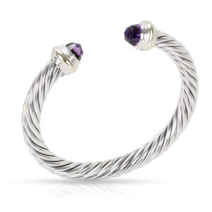 David Yurman 14K Yellow Gold and Sterling Silver Amethyst Cable Bracelet
