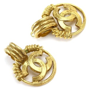 Chanel CC Gold Tone Earrings