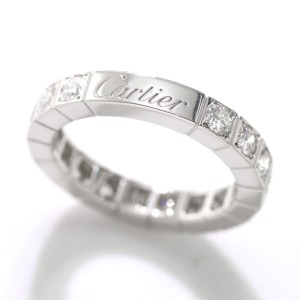 Cartier Lanieres Ring 18K White Gold Sterling Silver Diamond Size 3.75