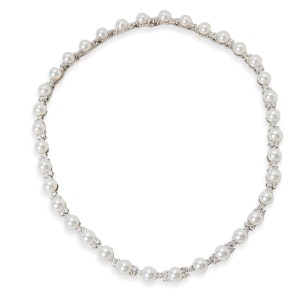 Tiffany & Co. Aria Platinum Diamond Cultured Pearl Necklace