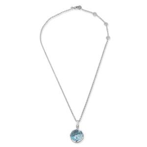 Bvlgari 18K White Gold Topaz, Diamond Necklace