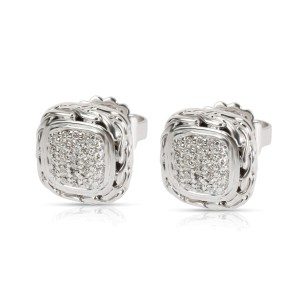 John Hardy Chain Square Diamond Stud Earring in  Sterling Silver 0.24 CTW