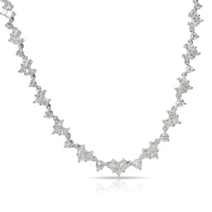 Round & Princess Cut Riviera Diamond Necklace in 18K White Gold (4.84 CTW)