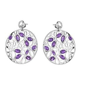 Di Modolo Purple Quartz Drop Earrings in Plated Rhodium MSRP 795