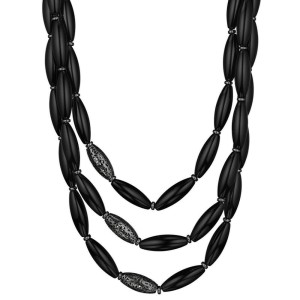 Di Modolo Black Agate Necklace in Sterling Silver MSRP 895