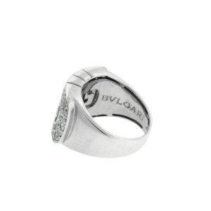 Bulgari 18k white gold VS1 F diamond Parentesi ring size 6.25