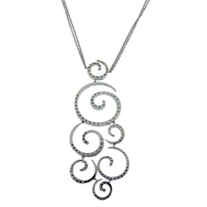 Stefan Hafner 18k white gold sapphire & diamond necklace