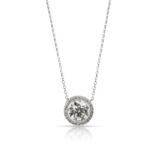 Round Cut Diamond Halo Necklace in 14KT White Gold J I2 1.45 CTW