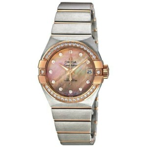 Omega Constellation Brown Mother of Pearl Diamond Automatic Ladies Watch 1232527