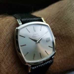 Men's Piaget 18k White Gold Automatic w/Date Dress Watch, c.1970s Swiss LV866