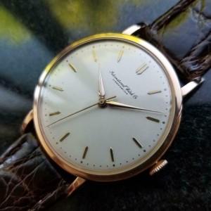 IWC Men's 18K Rose Gold Manual Hand-Wind Dress Watch c.1950s Vintage Swiss LV338