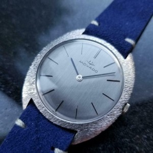 Men's Movado 18k White Gold Hand-Wind Dress Watch c.1960s Swiss Vintage MA144BLU